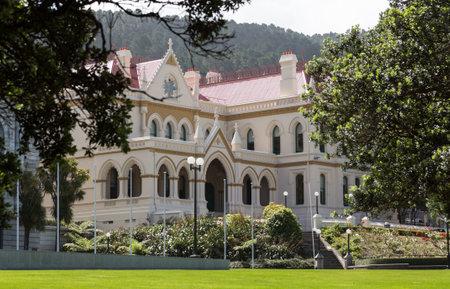 parlamentario: Vista lateral del antiguo edificio de la Biblioteca Parlamentaria en Wellington Nueva Zelanda