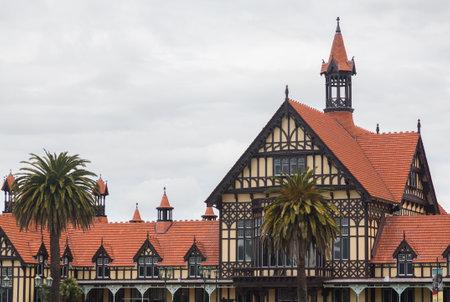 half  timbered: Half timbered Elizabethan mansion housing Rotorua Museum on the North Island of New Zealand
