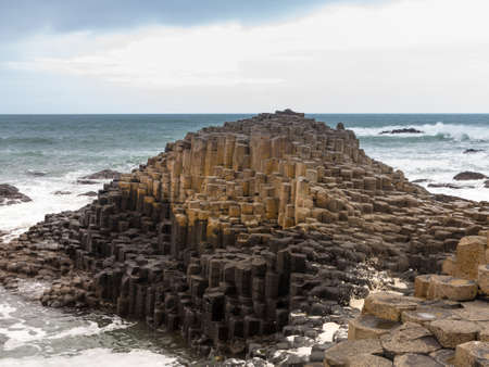 northern ireland: Rocks forming detailed patterns at Giants Causeway in County Antrim Northern Ireland