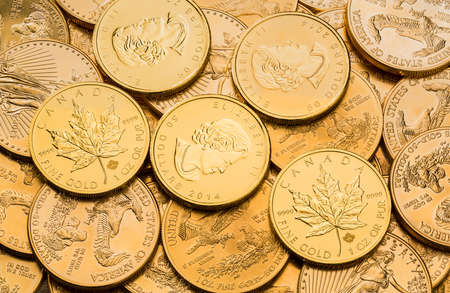 canadian cash: Stacks of gold eagle one troy ounce golden coins from US Treasury mint and Canadian Gold Maple Leaf Stock Photo