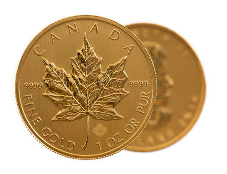 ounce: Pair of gold maple leaf one troy ounce golden coins from Canadian Treasury in uncirculated condition