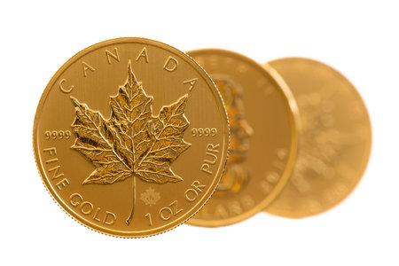 황금 단풍 나무 잎의 트리오 하나의 트로이 온스 황금 동전은 캐나다 재무부에서 비순환 상태입니다.
