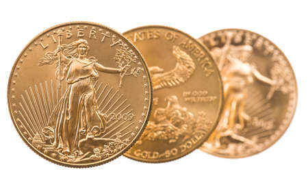 ounce: Trio of gold eagle one troy ounce golden coins from US Treasury mint