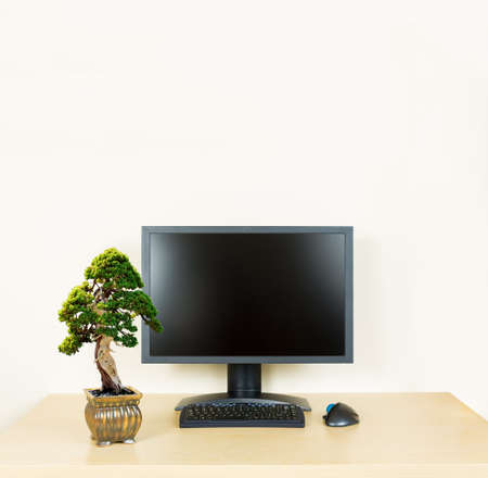 Small old bonsai tree in golden pot on plain wooden desk with computer monitor and keyboard to suggest calm, organization and meditation at work or in home office photo
