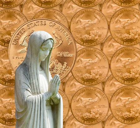 in god we trust: Image of statue of lady praying with US currency as background as a concept for the linkage of religion with money and wealth