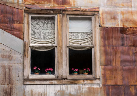 old mining building: Old wooden windows and flowers in ghost town of St Elmo in Colorado