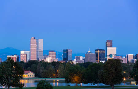 denver city park: City skyline of Denver Colorado from the City Park taken from front of Science Museum just before sunrise