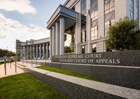 appeals: Sign and entrance steps to modern building housing the Colorado Supreme Court and Court of Appeals in Denver CO