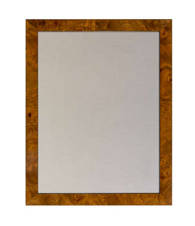 Cloth based pinboard or notice board inside a shiny attractive wood grain picture  frame isolated against white background photo