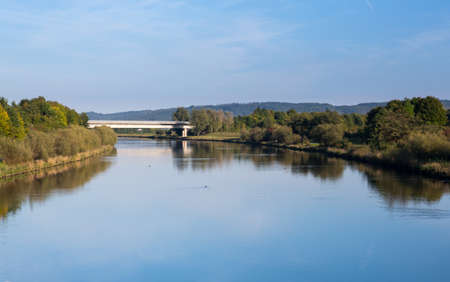 watershed: Bridge over Rhine Main Danube canal near the European Continental Divide or Watershed at Pierheim, Germany Stock Photo