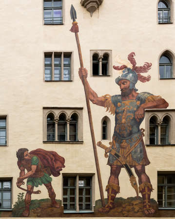 david and goliath: Mural of David and Goliath painted by Melchior Bocksberger in 1573 in the medieval town of Regensburg, Bavaria, Germany