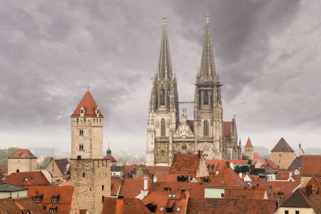 regensburg: View from roof of Lutheran church tower over the roofs of the medieval town of Regensburg, Bavaria, Germany Stock Photo