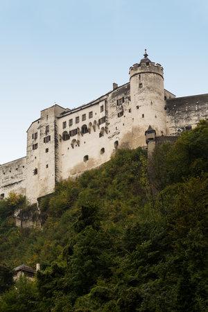 View up the steep mountain to Hohensalzburg Castle, Salzburg, Austria