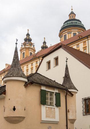Exterior of Melk Abbey a Benedictine monastery overlooking river Danube in Melk, Austria