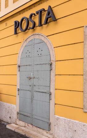 Closed door to Posta or post office in Castle District in Buda, Budapest, Hungary Editorial