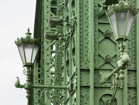 Details of construction of the restored Liberty or Freedom Bridge across the River Danube in Budapest, Hungary