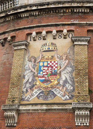 wall painting: Detail of wall painting of coat of arms of Hungarian Kingdom in Buda, Budapest, Hungary