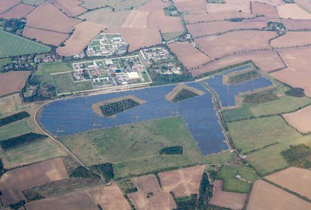 energies: Large solar panel array in fields around Highpoint Prison near Newmarket, England, UK