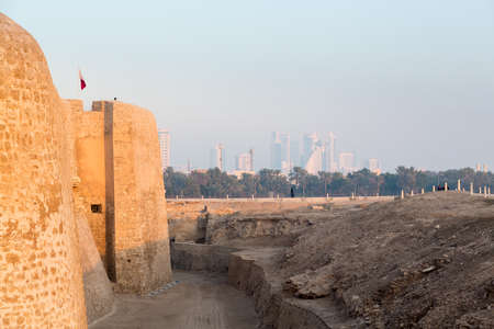 reconstructed: Dusk at the recontructed Bahrain Fort near Manama at Seef, Bahrain Editorial