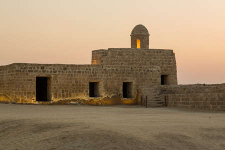 bahrain: Sunset at the recontructed Bahrain Fort near Manama at Seef, Bahrain