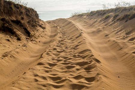 huellas de llantas: Camino de arena y realizar un seguimiento sobre las dunas de arena en Kauai con huellas de neum�ticos