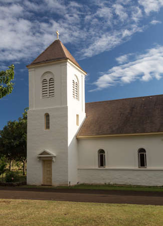 oldest: Exterior of the oldest Catholic Church founded by Robert Arsenius Walsh on Kauai in Hawaii
