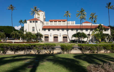 hale: Spanish style architecture of Honolulu Hale or town hall in center of city of Honolulu, Oahu, Hawaii