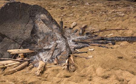 burned out: Old ashes and burned sticks form remains of old campfire or barbeque on sandy beach