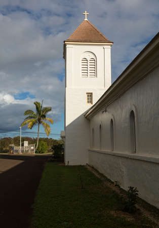 founded: Exterior of the oldest Catholic Church founded by Robert Arsenius Walsh on Kauai in Hawaii