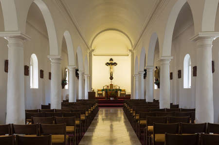 Interior of the oldest Catholic Church founded by Robert Arsenius Walsh on Kauai in Hawaii