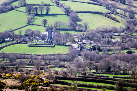 moorland: View of village of Widecombe in the Moor from the moorland overlooking the village on Dartmoor, Devon, England, UK