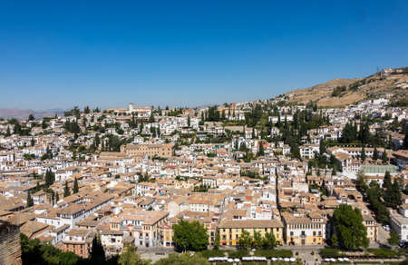 Panorama of ancient city of Granada in Andalucia, Spain, Europe Editorial
