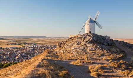 mancha: Preserved historic windmills on hilltop above Consuegra in Castilla-La Mancha, Spain Stock Photo