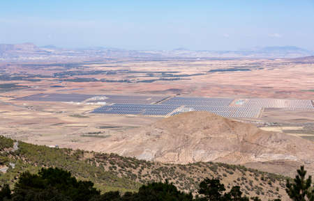 Rows of solar panels  for power generation from the sun in remote locations in Southern Spain Imagens
