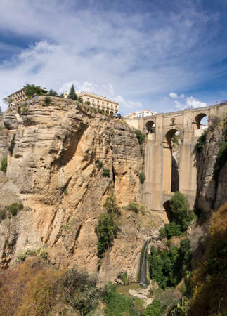 ronda: Puenta Nuevo and old town building over El Tajo gorge at Ronda, Andalucia, Spain