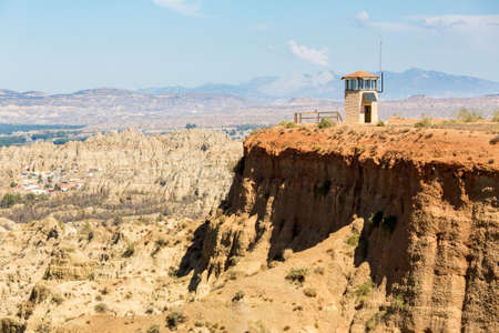 mirador: View from Mirador of rugged dry badlands in gorge outside Guadix Andalucia, Spain Stock Photo