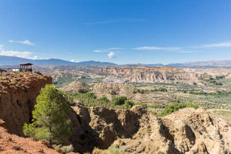 rugged: View from Mirador of rugged dry badlands in gorge outside Guadix Andalucia, Spain Stock Photo
