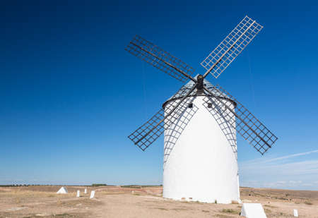 mancha: Preserved historic windmills on plain above Campo de Criptana in Castilla-La Mancha, Spain