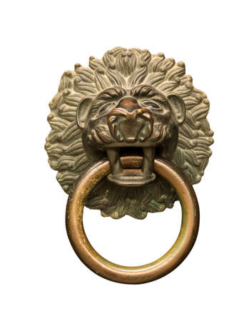 door knocker: Isolated Lion head brass or copper door knocker with round ring against white background Stock Photo