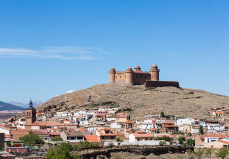 la: Well preserved castle with four round towers above La Calahorra, Andalucia, Spain