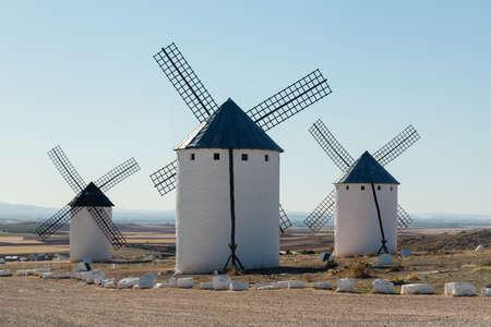 don quixote: Preserved historic windmills on plain above Campo de Criptana in Castilla-La Mancha, Spain
