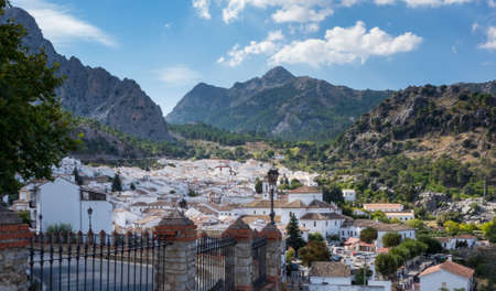 White painted homes and tiled roof of famous hill town of Grazalema in Andalucia in Southern Spain