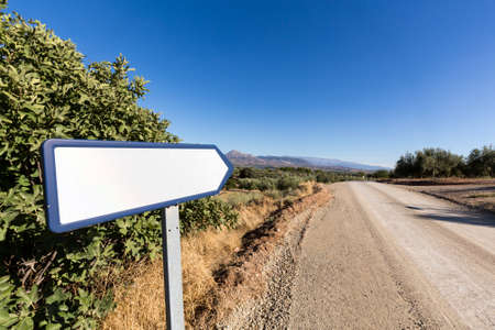 blank sign: Blank road sign by side of dry dusty road with olive trees and mountains in the distance
