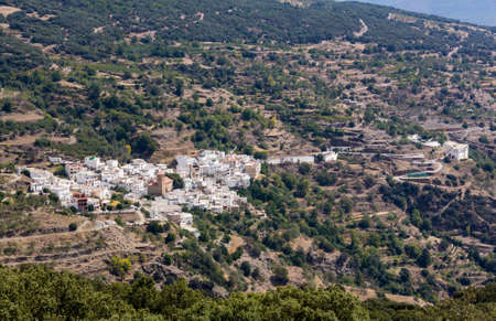 mountain pass: Overview of Bayarcal from Puerto de la Ragua mountain pass over the Sierra Nevada mountains in Andalucia, Spain