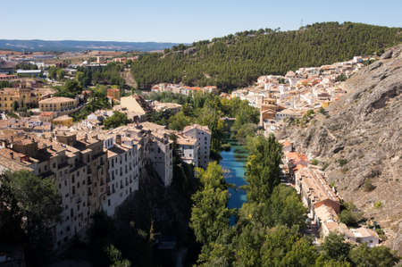 newer: Aerial view of river and newer areas of town of Cuenca in Castilla-La Mancha, Spain, Europe