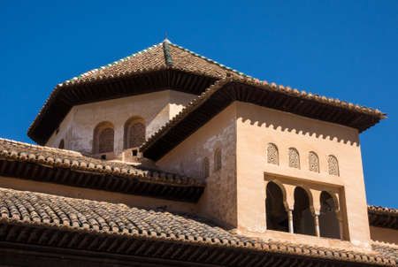roof windows: Ornate roof and windows above Nasrid palace in Alhambra Granada, Spain