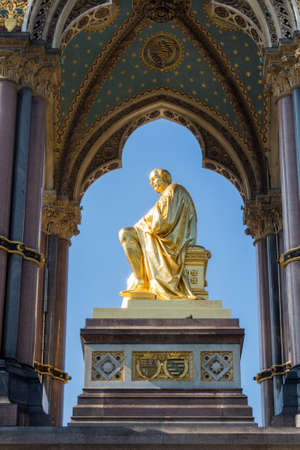 Detail of the Albert Memorial in Kensington Gardens London England