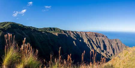 Awa`awapuhi trail from Koke'e State Park to Na Pali coast ends at Nualolo Valley overlooking Pacific ocean in Kauai, Hawaii, USA Stock fotó