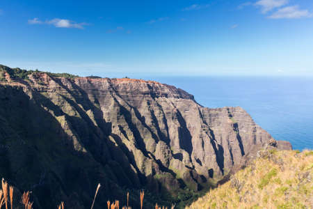 ocean state: Awa`awapuhi trail from Kokee State Park to Na Pali coast ends at Nualolo Valley overlooking Pacific ocean in Kauai, Hawaii, USA
