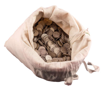silver coins: Thousands of US dimes and coins in a cloth money bag with a white background. These dimes are pre 1964 and are sterling silver